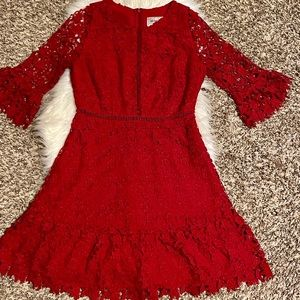 BB Dakota Boutique Dress, Red lace pattern, Size 4